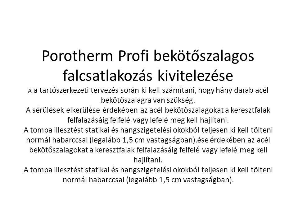 Porotherm Profi bekötőszalagos falcsatlakozás kivitelezése A a tartószerkezeti tervezés során ki kell számítani, hogy hány darab acél bekötőszalagra v