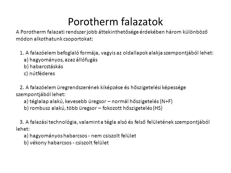 Porotherm falazatok A Porotherm falazati rendszer jobb áttekinthetősége érdekében három különböző módon alkothatunk csoportokat: 1. A falazóelem befog