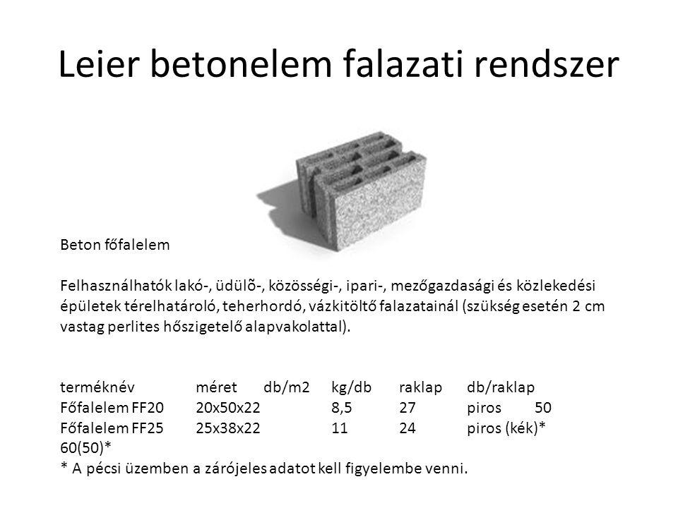 Leier betonelem falazati rendszer Beton főfalelem Felhasználhatók lakó-, üdülõ-, közösségi-, ipari-, mezőgazdasági és közlekedési épületek térelhatáro