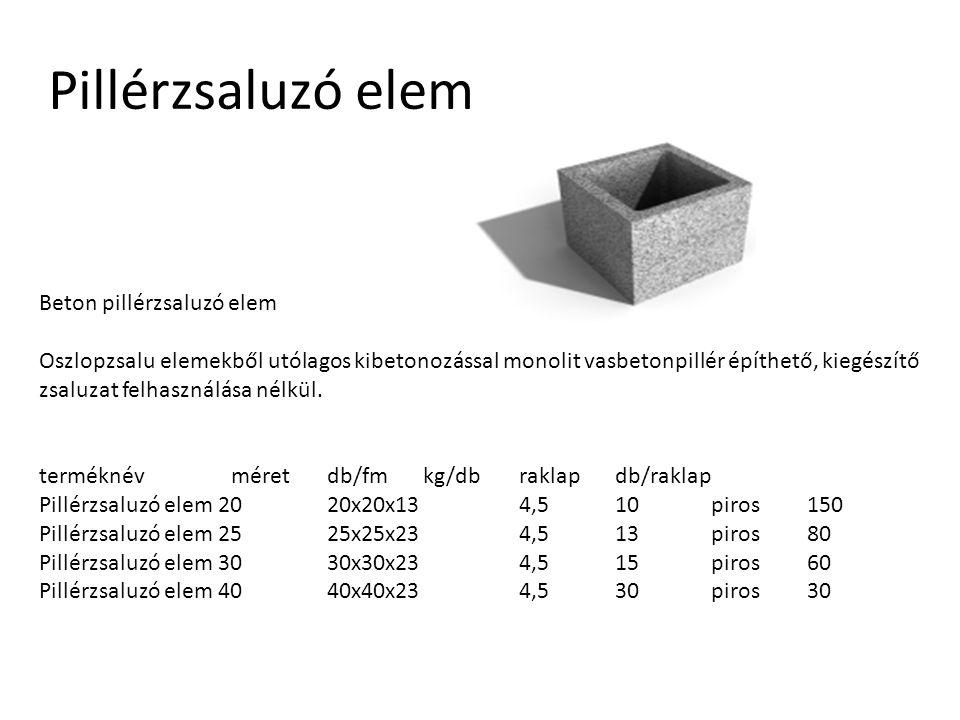 Pillérzsaluzó elem Beton pillérzsaluzó elem Oszlopzsalu elemekből utólagos kibetonozással monolit vasbetonpillér építhető, kiegészítő zsaluzat felhasz