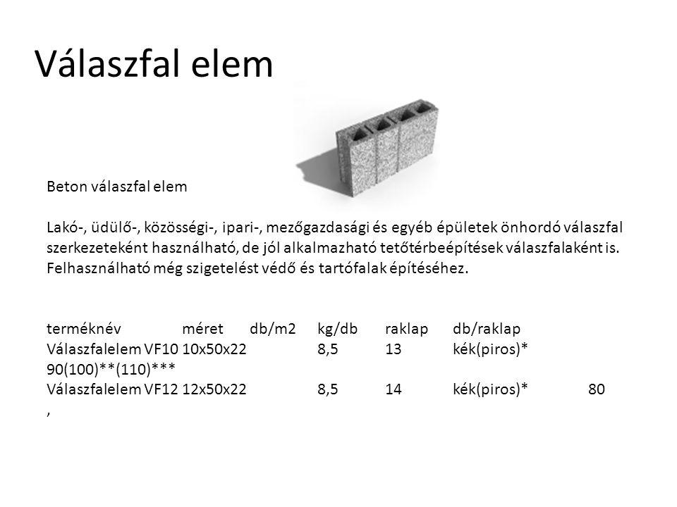 Válaszfal elem Beton válaszfal elem Lakó-, üdülő-, közösségi-, ipari-, mezőgazdasági és egyéb épületek önhordó válaszfal szerkezeteként használható, d