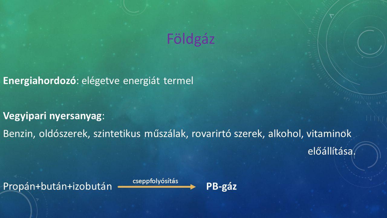 Földgáz Energiahordozó: elégetve energiát termel Vegyipari nyersanyag: Benzin, oldószerek, szintetikus műszálak, rovarirtó szerek, alkohol, vitaminok előállítása.