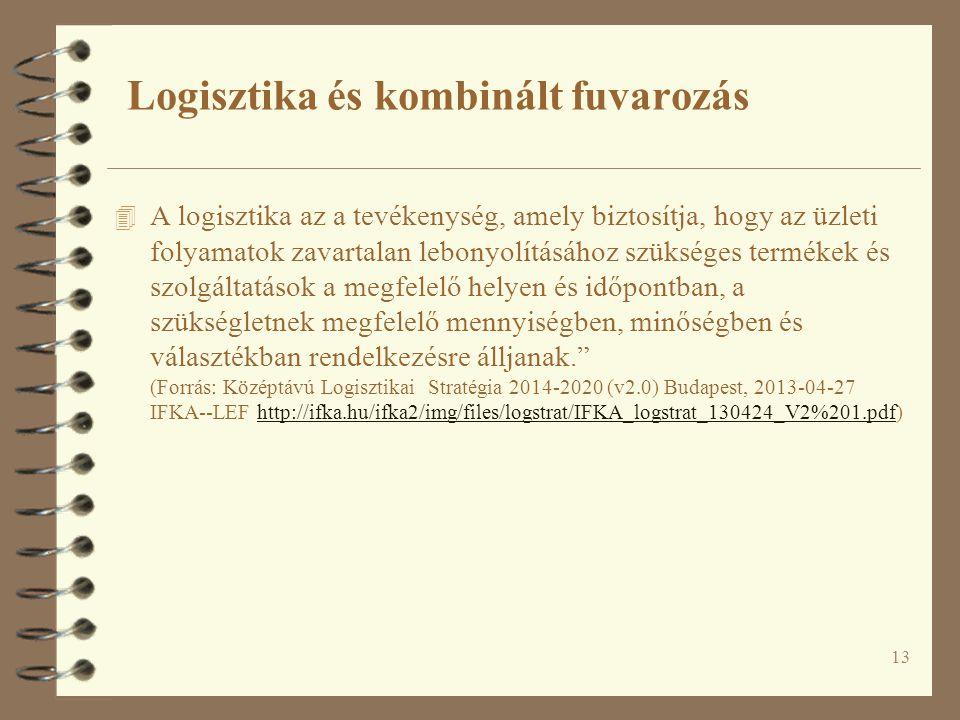 13 4 A logisztika az a tevékenység, amely biztosítja, hogy az üzleti folyamatok zavartalan lebonyolításához szükséges termékek és szolgáltatások a megfelelő helyen és időpontban, a szükségletnek megfelelő mennyiségben, minőségben és választékban rendelkezésre álljanak. (Forrás: Középtávú Logisztikai Stratégia 2014-2020 (v2.0) Budapest, 2013-04-27 IFKA--LEF http://ifka.hu/ifka2/img/files/logstrat/IFKA_logstrat_130424_V2%201.pdf)http://ifka.hu/ifka2/img/files/logstrat/IFKA_logstrat_130424_V2%201.pdf Logisztika és kombinált fuvarozás