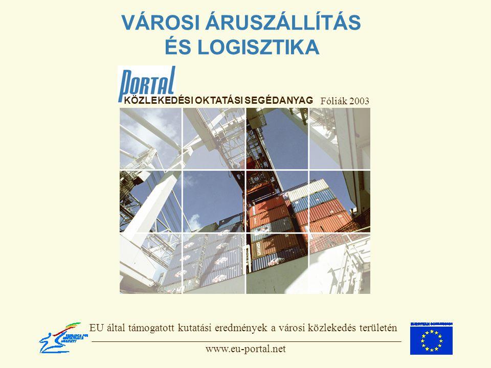 VÁROSI ÁRUSZÁLLÍTÁS ÉS LOGISZTIKA Fóliák 2003 EU által támogatott kutatási eredmények a városi közlekedés területén www.eu-portal.net KÖZLEKEDÉSI OKTATÁSI SEGÉDANYAG