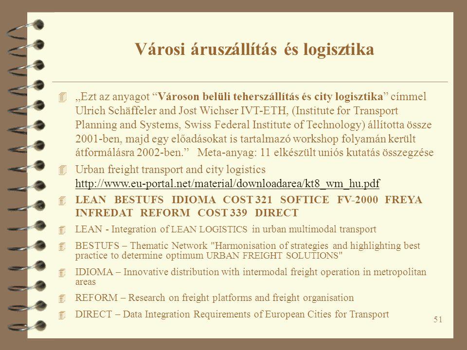 """51 4 """"Ezt az anyagot Városon belüli teherszállítás és city logisztika címmel Ulrich Schäffeler and Jost Wichser IVT-ETH, (Institute for Transport Planning and Systems, Swiss Federal Institute of Technology) állította össze 2001-ben, majd egy előadásokat is tartalmazó workshop folyamán került átformálásra 2002-ben. Meta-anyag: 11 elkészült uniós kutatás összegzése 4 Urban freight transport and city logistics http://www.eu-portal.net/material/downloadarea/kt8_wm_hu.pdf http://www.eu-portal.net/material/downloadarea/kt8_wm_hu.pdf 4 LEAN BESTUFS IDIOMA COST 321 SOFTICE FV-2000 FREYA INFREDAT REFORM COST 339 DIRECT 4 LEAN - Integration of LEAN LOGISTICS in urban multimodal transport 4 BESTUFS – Thematic Network Harmonisation of strategies and highlighting best practice to determine optimum URBAN FREIGHT SOLUTIONS 4 IDIOMA – Innovative distribution with intermodal freight operation in metropolitan areas 4 REFORM – Research on freight platforms and freight organisation 4 DIRECT – Data Integration Requirements of European Cities for Transport Városi áruszállítás és logisztika"""