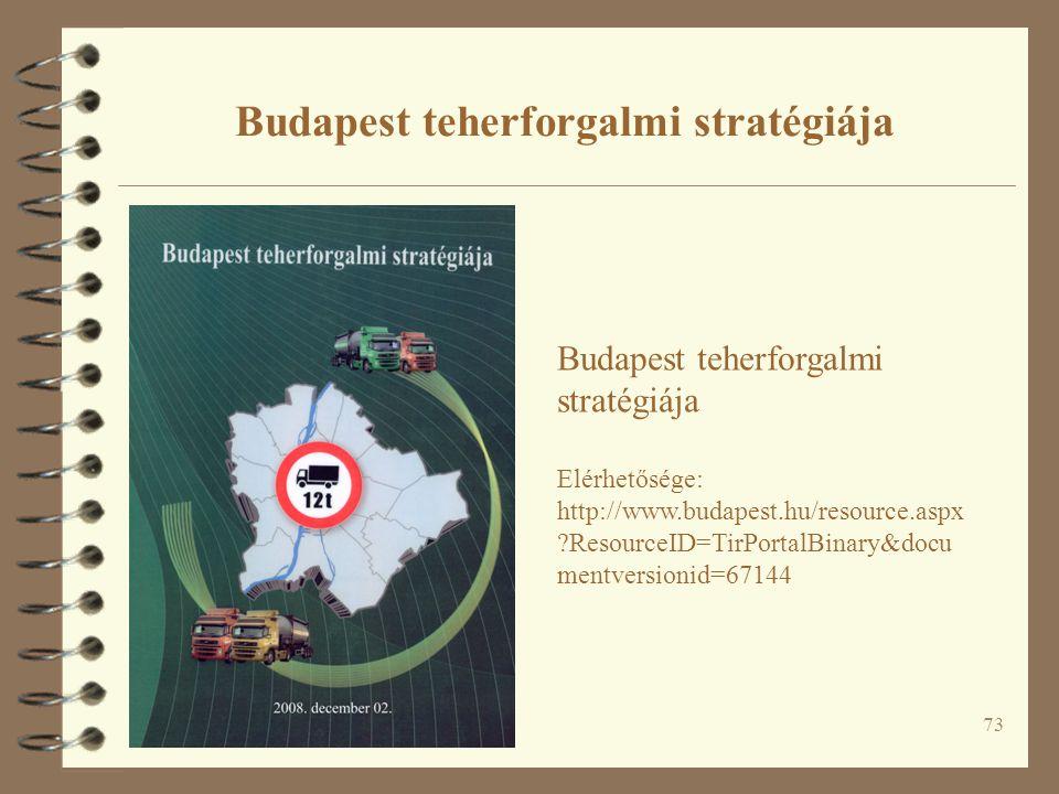 73 Budapest teherforgalmi stratégiája Elérhetősége: http://www.budapest.hu/resource.aspx ?ResourceID=TirPortalBinary&docu mentversionid=67144