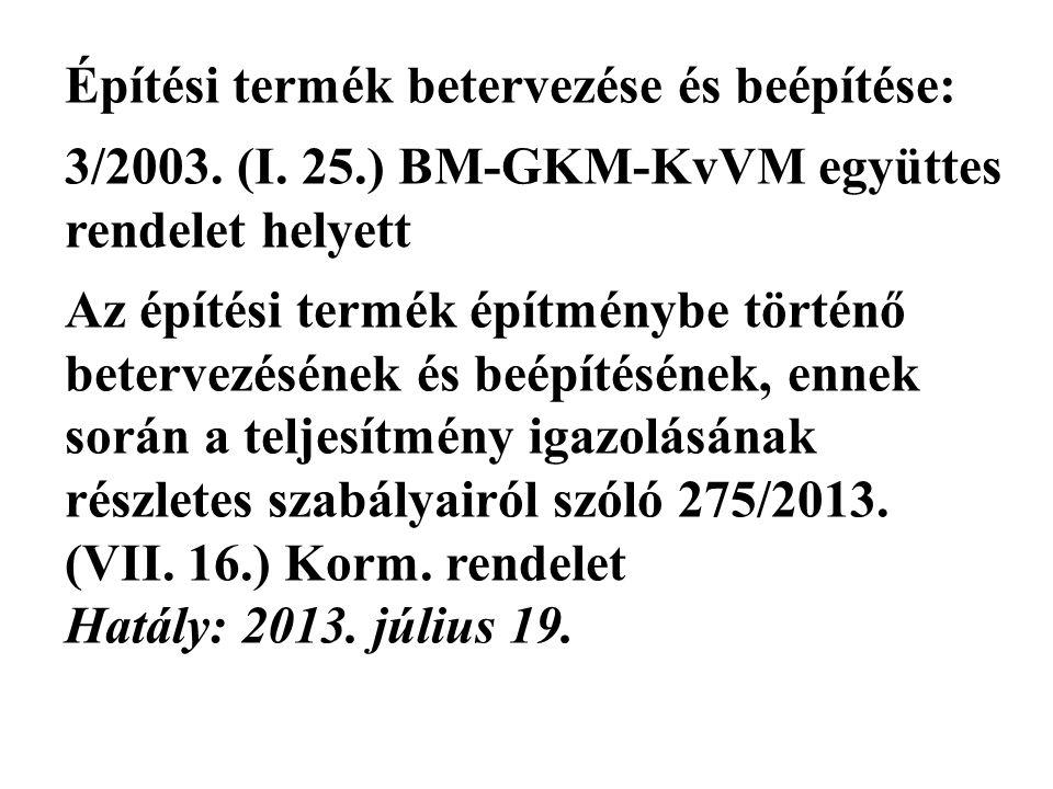 Építési termék betervezése és beépítése: 3/2003.(I.