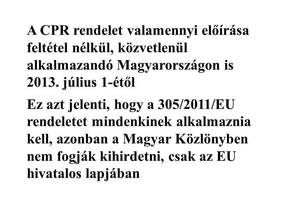 A CPR rendelet valamennyi előírása feltétel nélkül, közvetlenül alkalmazandó Magyarországon is 2013.