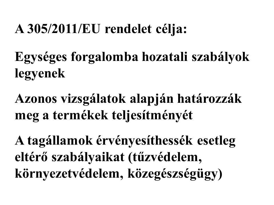 A 305/2011/EU rendelet célja: Egységes forgalomba hozatali szabályok legyenek Azonos vizsgálatok alapján határozzák meg a termékek teljesítményét A tagállamok érvényesíthessék esetleg eltérő szabályaikat (tűzvédelem, környezetvédelem, közegészségügy)