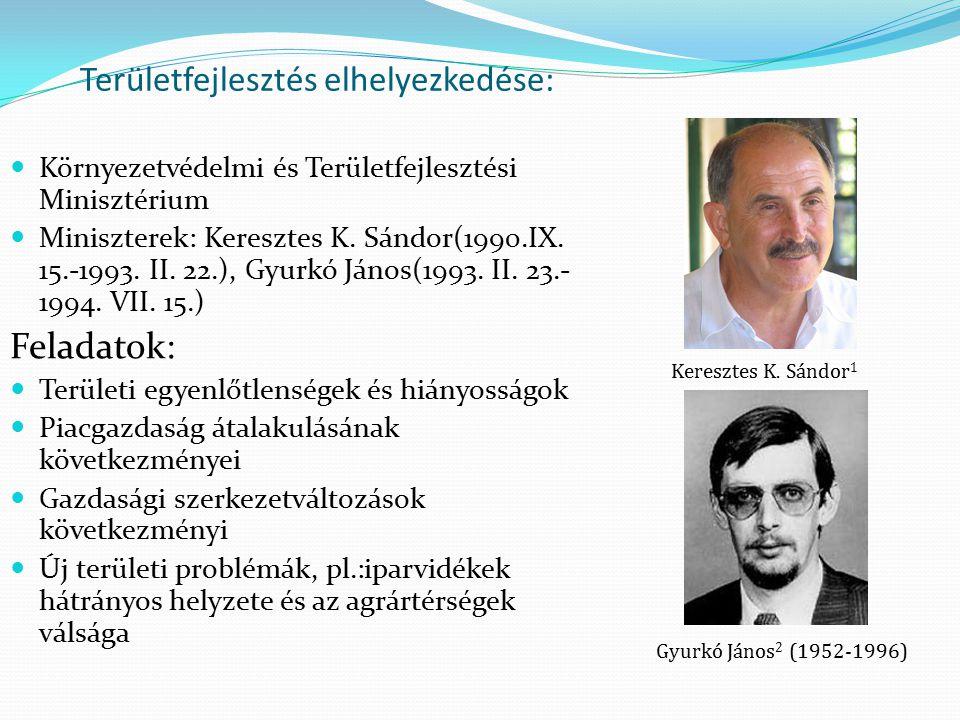 Területfejlesztés elhelyezkedése: Környezetvédelmi és Területfejlesztési Minisztérium Miniszterek: Keresztes K. Sándor(1990.IX. 15.-1993. II. 22.), Gy