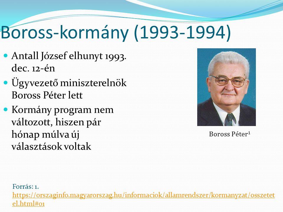 Boross-kormány (1993-1994) Antall József elhunyt 1993. dec. 12-én Ügyvezető miniszterelnök Boross Péter lett Kormány program nem változott, hiszen pár