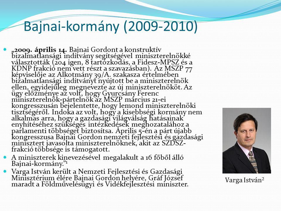 """Bajnai-kormány (2009-2010) """"2009. április 14. Bajnai Gordont a konstruktív bizalmatlansági indítvány segítségével miniszterelnökké választották (204 i"""