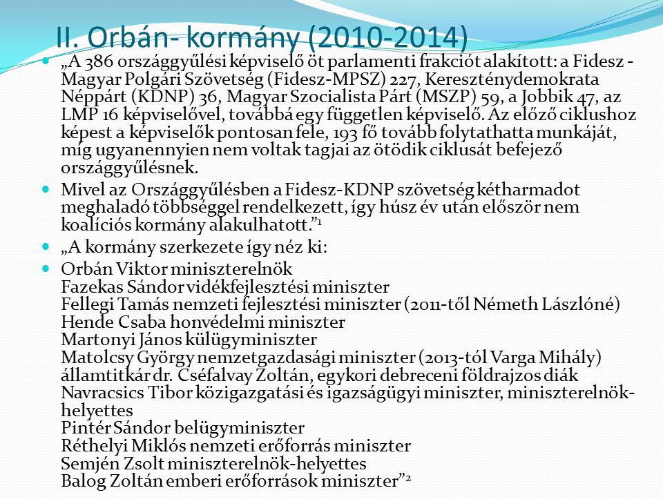 """II. Orbán- kormány (2010-2014) """"A 386 országgyűlési képviselő öt parlamenti frakciót alakított: a Fidesz - Magyar Polgári Szövetség (Fidesz-MPSZ) 227,"""
