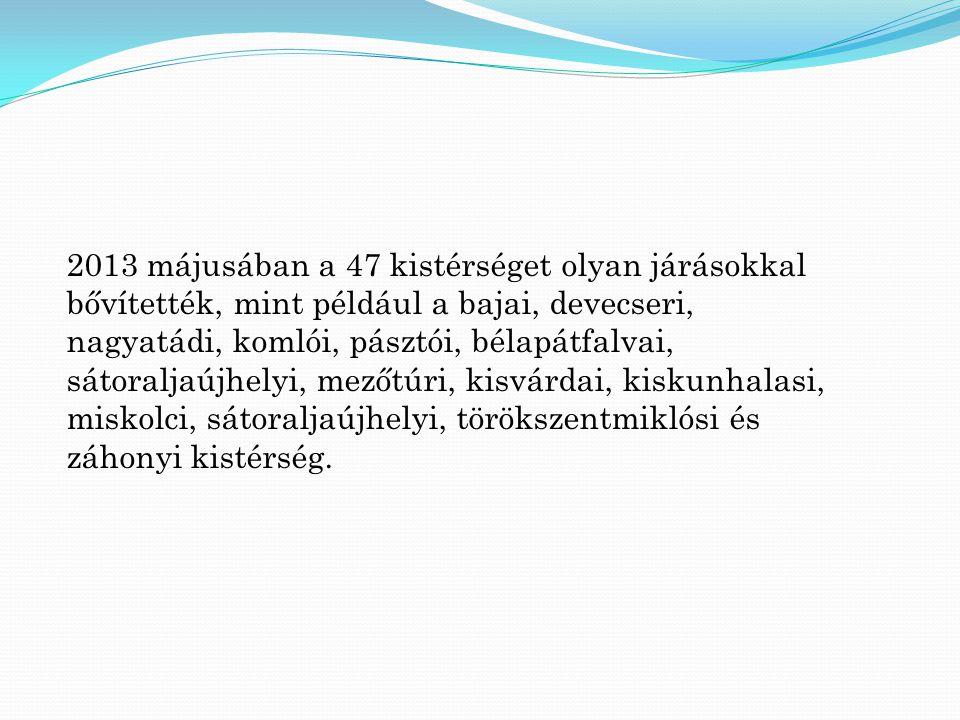 2013 májusában a 47 kistérséget olyan járásokkal bővítették, mint például a bajai, devecseri, nagyatádi, komlói, pásztói, bélapátfalvai, sátoraljaújhe