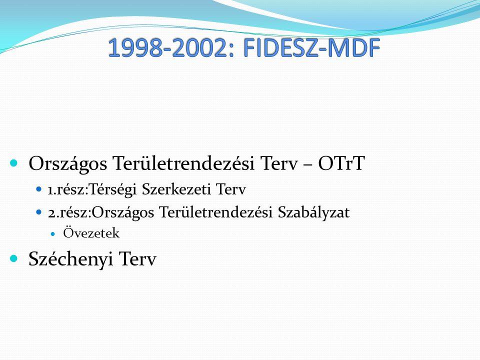 Országos Területrendezési Terv – OTrT 1.rész:Térségi Szerkezeti Terv 2.rész:Országos Területrendezési Szabályzat Övezetek Széchenyi Terv