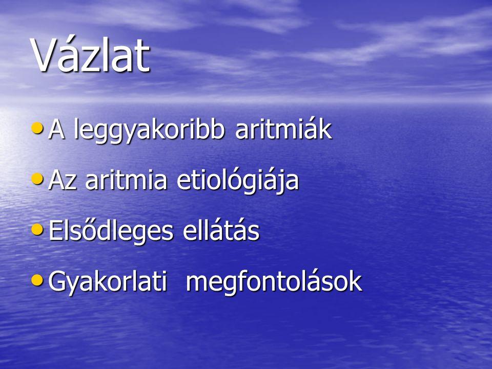 Vázlat A leggyakoribb aritmiák A leggyakoribb aritmiák Az aritmia etiológiája Az aritmia etiológiája Elsődleges ellátás Elsődleges ellátás Gyakorlati