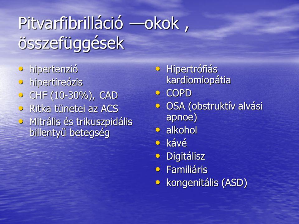 Pitvarfibrilláció —okok, összefüggések hipertenzió hipertenzió hipertireózis hipertireózis CHF (10-30%), CAD CHF (10-30%), CAD Ritka tünetei az ACS Ri