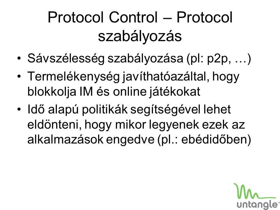 Protocol Control – Protocol szabályozás Sávszélesség szabályozása (pl: p2p, …) Termelékenység javíthatóazáltal, hogy blokkolja IM és online játékokat