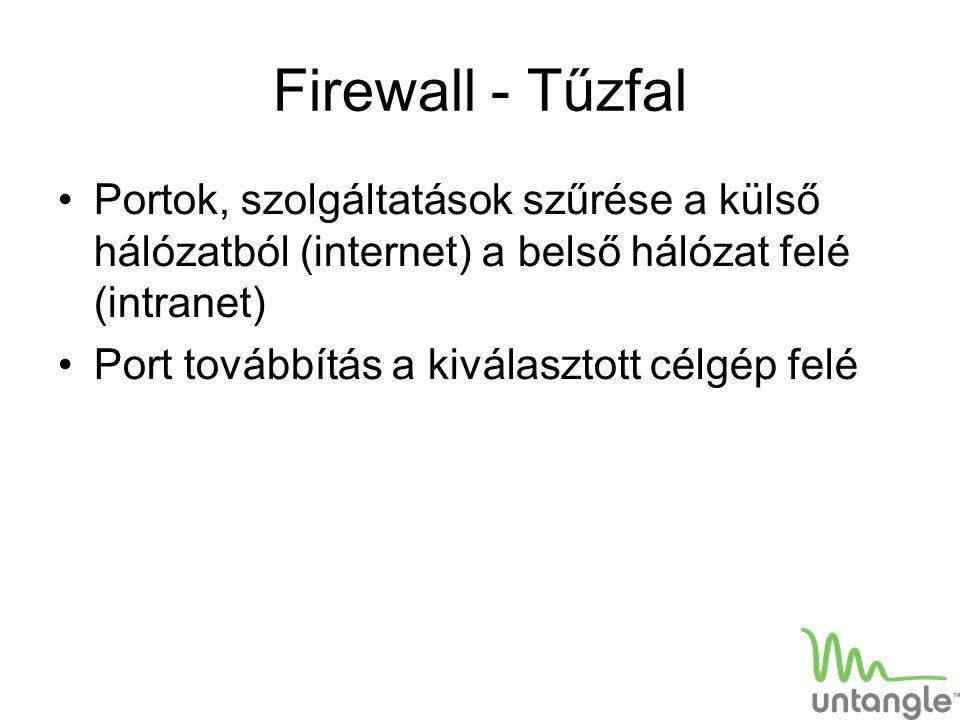 Firewall - Tűzfal Portok, szolgáltatások szűrése a külső hálózatból (internet) a belső hálózat felé (intranet) Port továbbítás a kiválasztott célgép f
