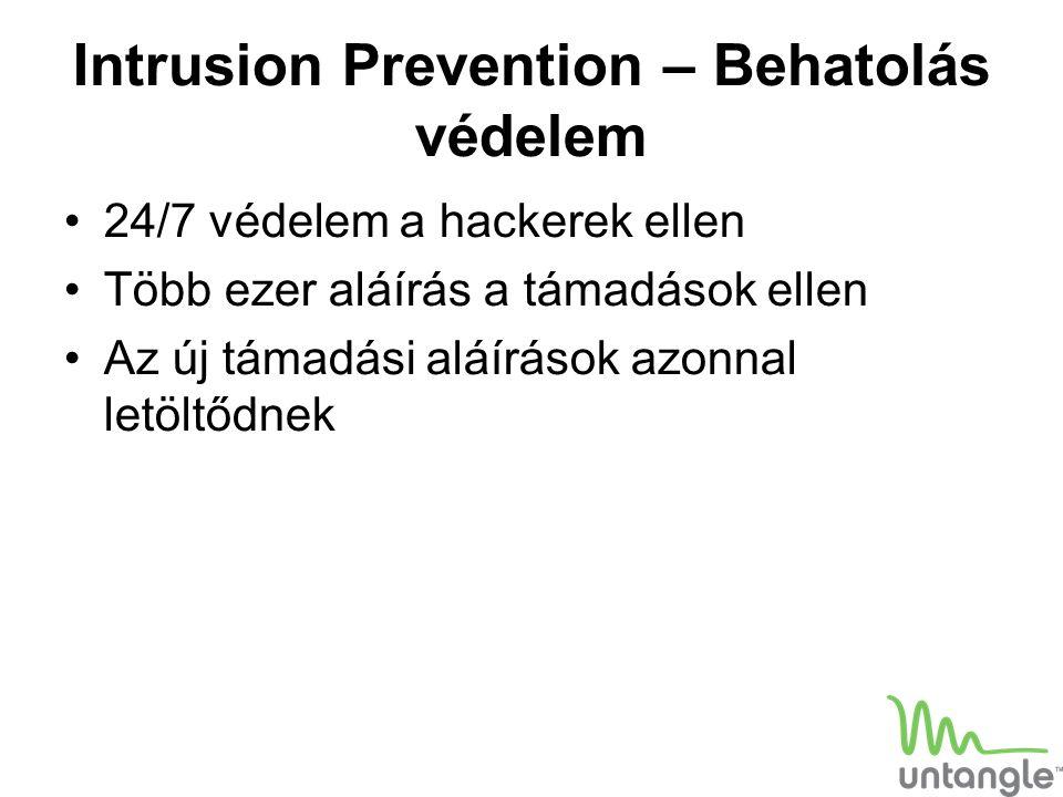 Intrusion Prevention – Behatolás védelem 24/7 védelem a hackerek ellen Több ezer aláírás a támadások ellen Az új támadási aláírások azonnal letöltődne