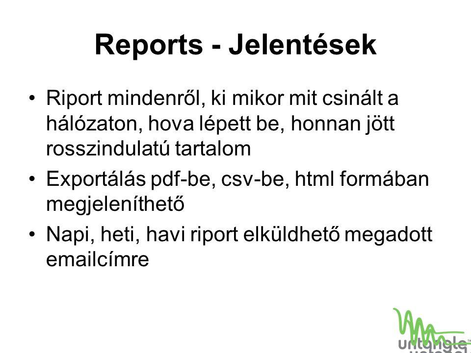 Reports - Jelentések Riport mindenről, ki mikor mit csinált a hálózaton, hova lépett be, honnan jött rosszindulatú tartalom Exportálás pdf-be, csv-be,