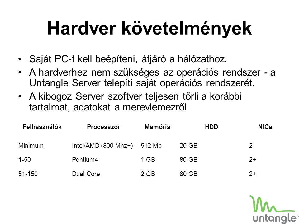 Hardver követelmények Saját PC-t kell beépíteni, átjáró a hálózathoz. A hardverhez nem szükséges az operációs rendszer - a Untangle Server telepíti sa