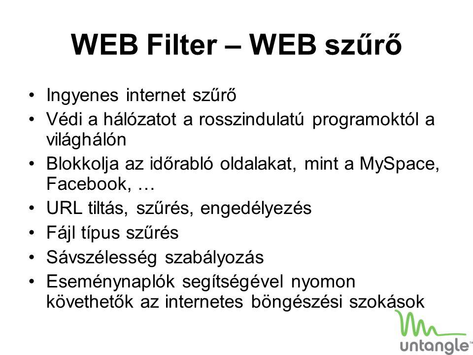 WEB Filter – WEB szűrő Ingyenes internet szűrő Védi a hálózatot a rosszindulatú programoktól a világhálón Blokkolja az időrabló oldalakat, mint a MySp