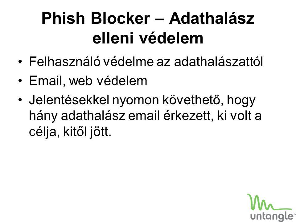 Phish Blocker – Adathalász elleni védelem Felhasználó védelme az adathalászattól Email, web védelem Jelentésekkel nyomon követhető, hogy hány adathalá