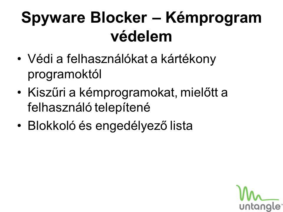 Spyware Blocker – Kémprogram védelem Védi a felhasználókat a kártékony programoktól Kiszűri a kémprogramokat, mielőtt a felhasználó telepítené Blokkol