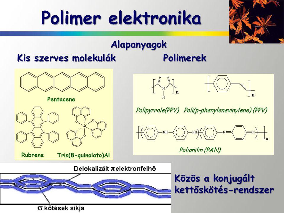Polimer elektronika Alapanyagok Kis szerves molekulák Polimerek Közös a konjugált kettőskötés-rendszer