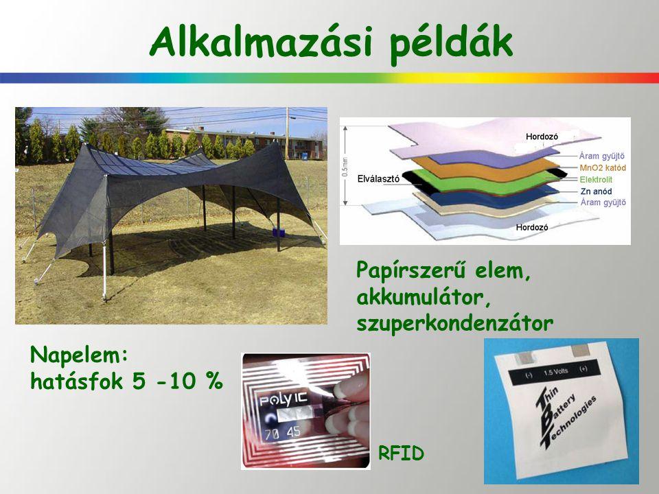 Alkalmazási példák Napelem: hatásfok 5 -10 % Papírszerű elem, akkumulátor, szuperkondenzátor RFID