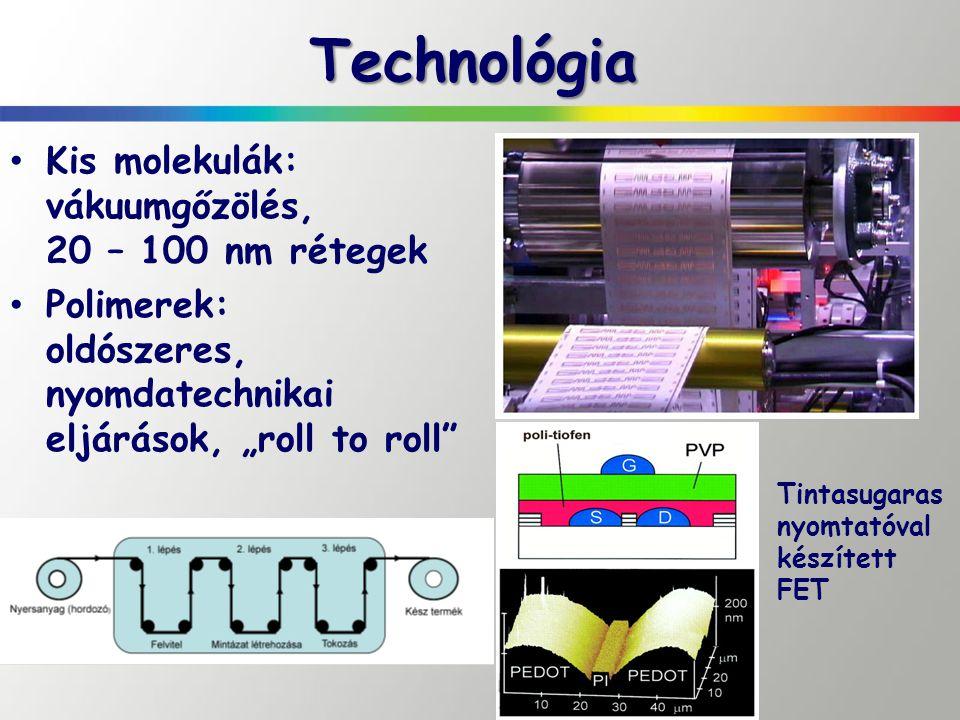 """Technológia Kis molekulák: vákuumgőzölés, 20 – 100 nm rétegek Polimerek: oldószeres, nyomdatechnikai eljárások, """"roll to roll"""" Tintasugaras nyomtatóva"""