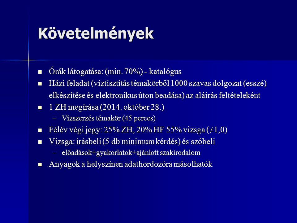 Követelmények Órák látogatása: (min.70%) - katalógus Órák látogatása: (min.