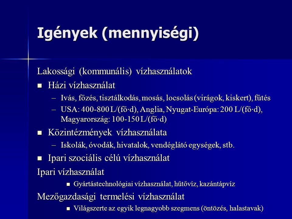 Igények (mennyiségi) Lakossági (kommunális) vízhasználatok Házi vízhasználat Házi vízhasználat –Ivás, főzés, tisztálkodás, mosás, locsolás (virágok, kiskert), fűtés –USA: 400-800 L/(fő·d), Anglia, Nyugat-Európa: 200 L/(fő·d), Magyarország: 100-150 L/(fő·d) Közintézmények vízhasználata Közintézmények vízhasználata –Iskolák, óvodák, hivatalok, vendéglátó egységek, stb.