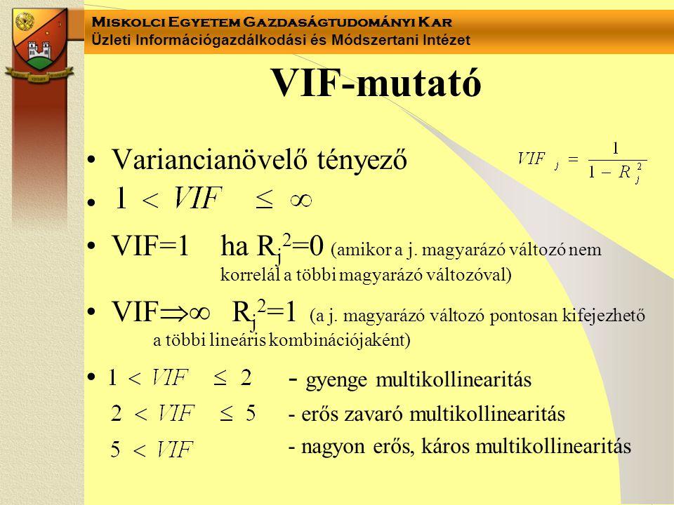Miskolci Egyetem Gazdaságtudományi Kar Üzleti Információgazdálkodási és Módszertani Intézet VIF-mutató Variancianövelő tényező VIF=1 ha R j 2 =0 (amikor a j.