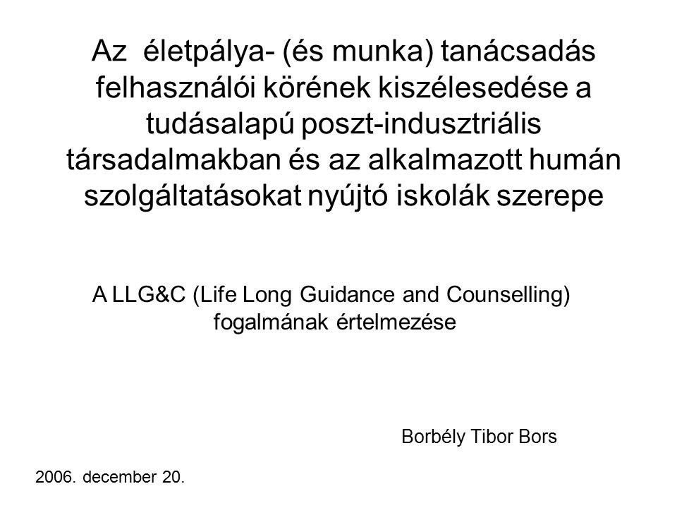 Az életpálya- (és munka) tanácsadás felhasználói körének kiszélesedése a tudásalapú poszt-indusztriális társadalmakban és az alkalmazott humán szolgáltatásokat nyújtó iskolák szerepe Borbély Tibor Bors 2006.