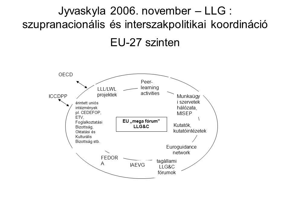 Jyvaskyla 2006. november – LLG : szupranacionális és interszakpolitikai koordináció EU-27 szinten ICCDPP FEDOR A IAEVG Peer- learning activities Eurog