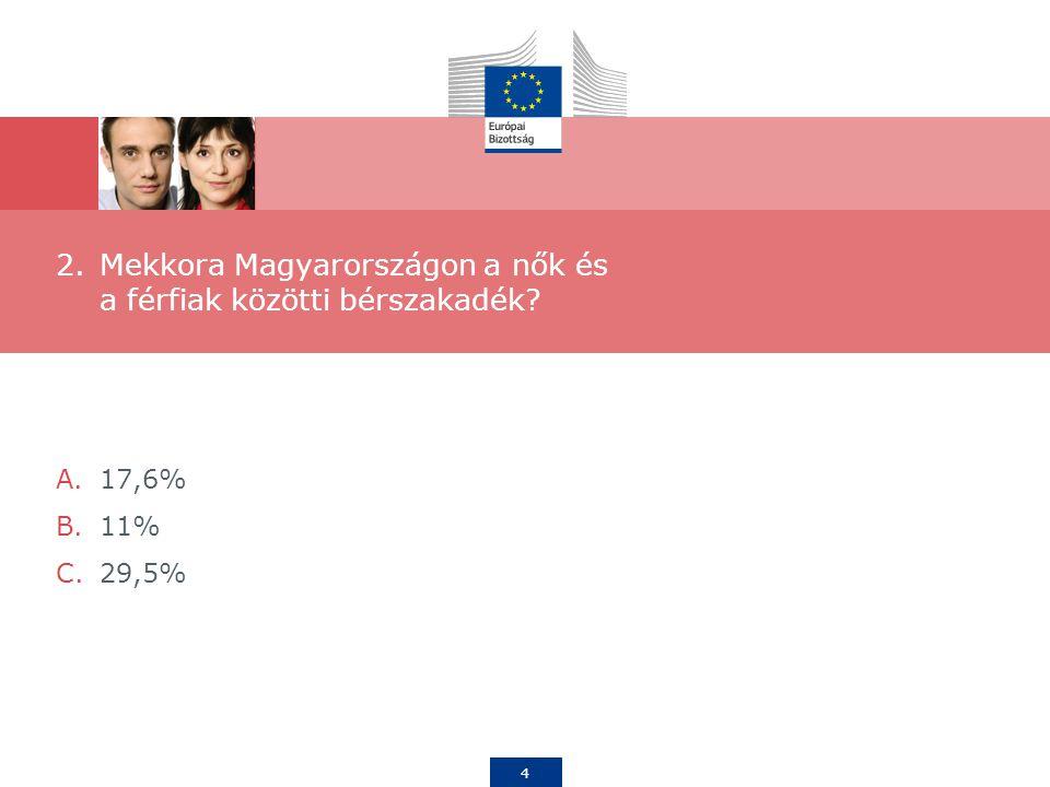 4 2.Mekkora Magyarországon a nők és a férfiak közötti bérszakadék A.17,6% B.11% C.29,5%