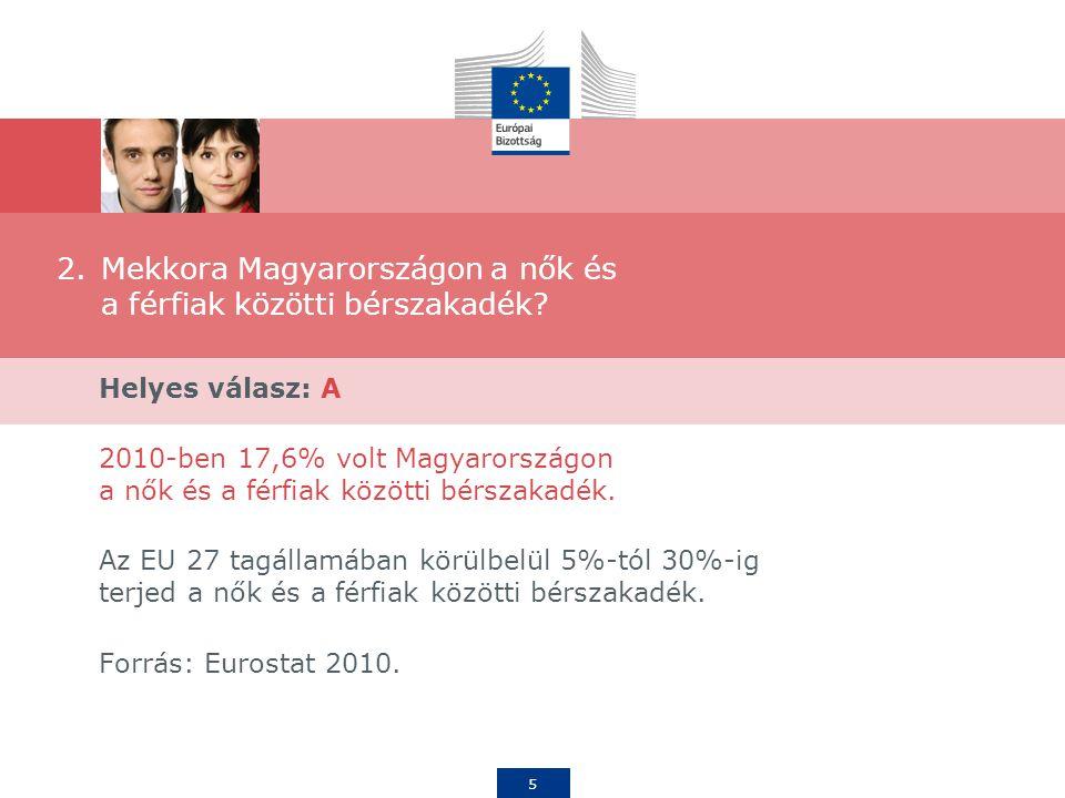 6 3.Mennyi a nők és a férfiak közötti átlagos bérszakadék az EU országaiban? A.16,4% B.24% C.33%