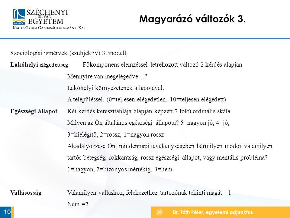 Dr. Tóth Péter, egyetemi adjunktus Magyarázó változók 3.