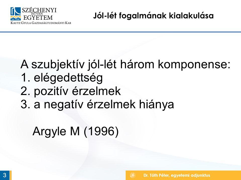 Dr. Tóth Péter, egyetemi adjunktus Jól-lét fogalmának kialakulása 3 A szubjektív jól-lét három komponense: 1. elégedettség 2. pozitív érzelmek 3. a ne