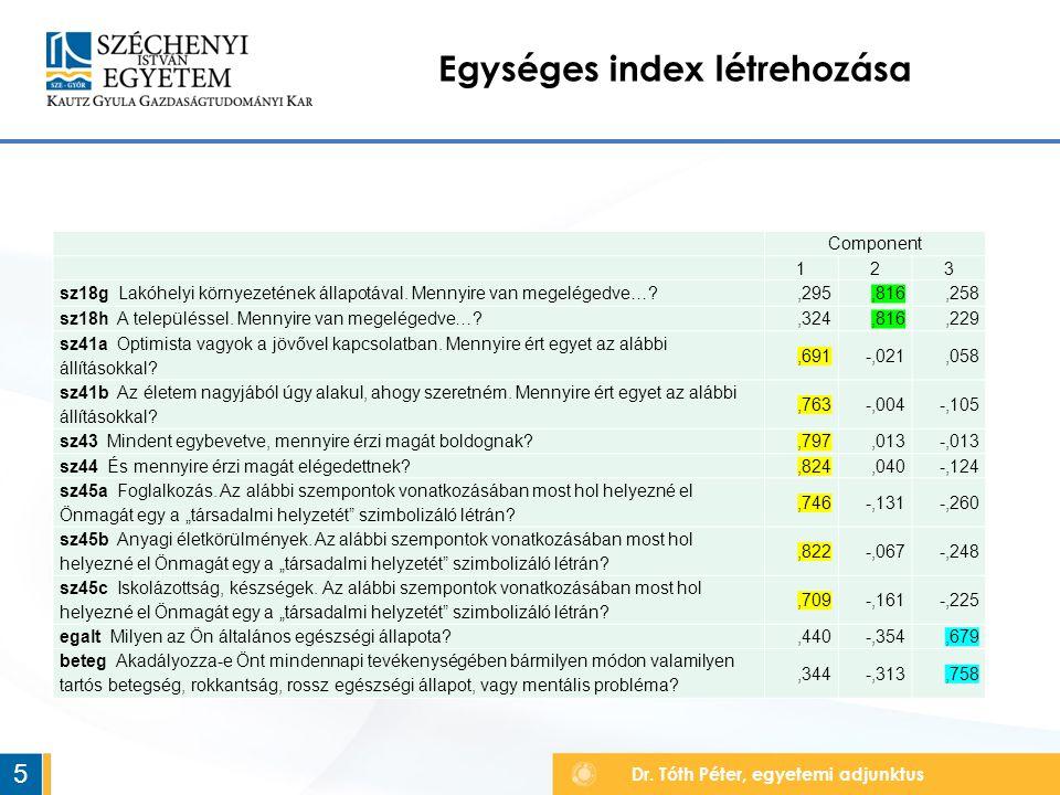 Egységes index létrehozása 5 Component 123 sz18g Lakóhelyi környezetének állapotával.