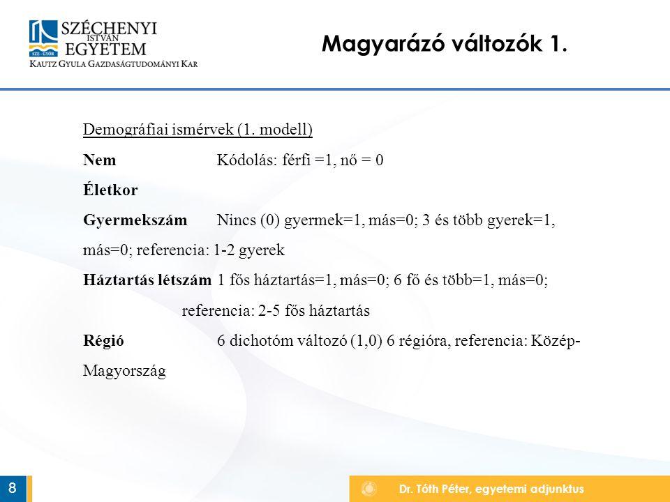 Dr. Tóth Péter, egyetemi adjunktus Magyarázó változók 1.
