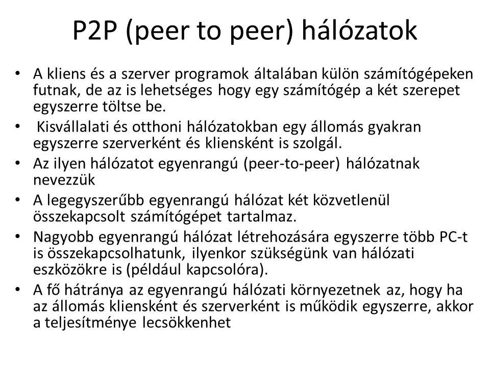 P2P (peer to peer) hálózatok A kliens és a szerver programok általában külön számítógépeken futnak, de az is lehetséges hogy egy számítógép a két szer