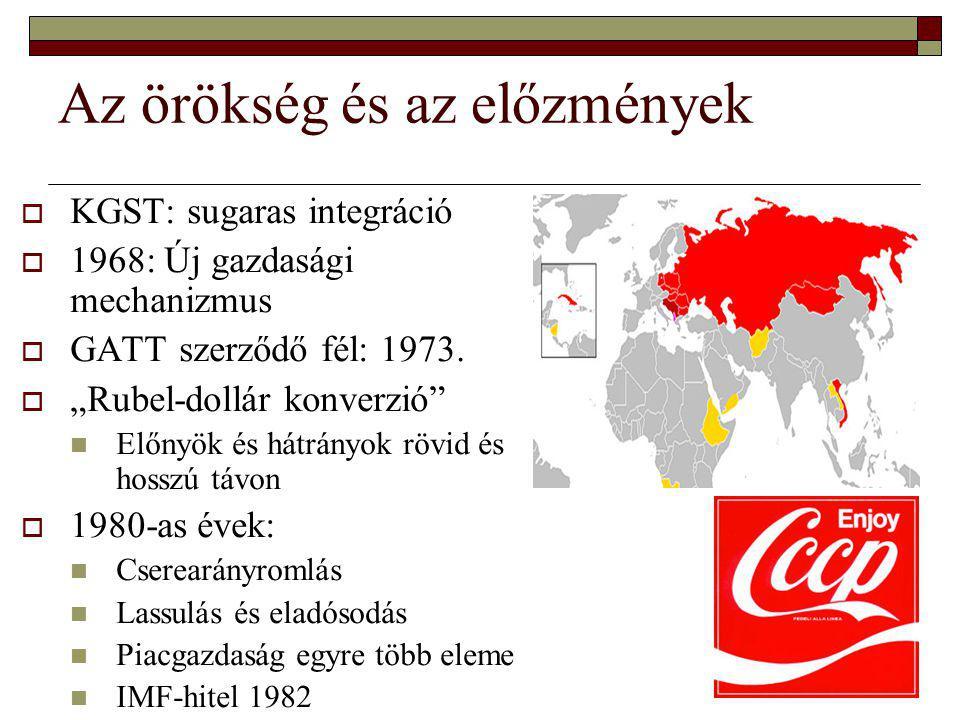 """Az örökség és az előzmények  KGST: sugaras integráció  1968: Új gazdasági mechanizmus  GATT szerződő fél: 1973.  """"Rubel-dollár konverzió"""" Előnyök"""