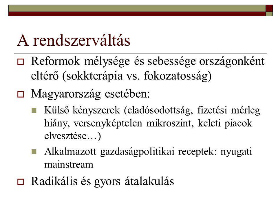 A rendszerváltás  Reformok mélysége és sebessége országonként eltérő (sokkterápia vs. fokozatosság)  Magyarország esetében: Külső kényszerek (eladós