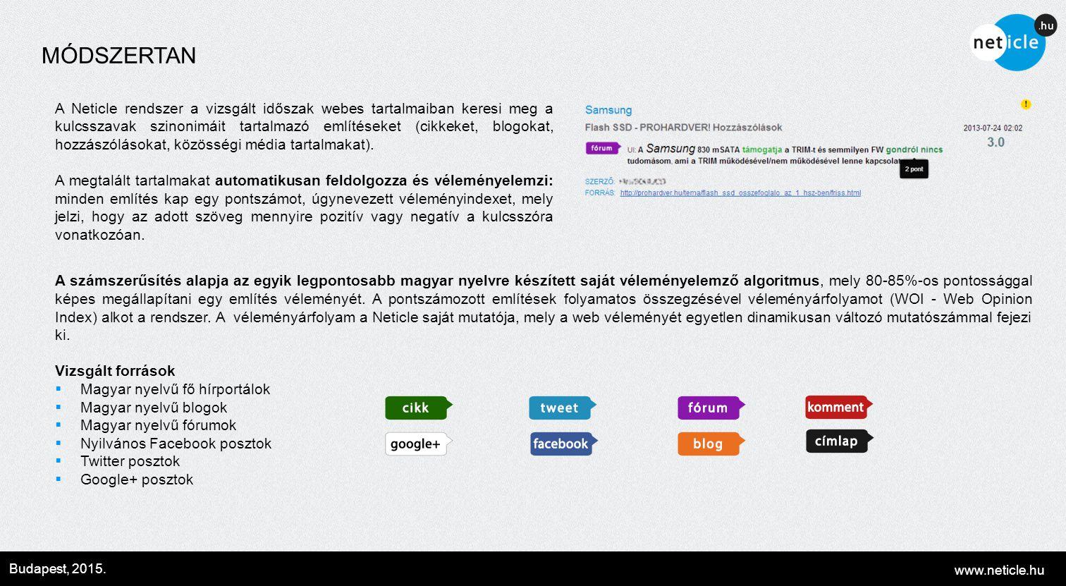 www.neticle.hu Budapest, 2015. MÓDSZERTAN A számszerűsítés alapja az egyik legpontosabb magyar nyelvre készített saját véleményelemző algoritmus, mely