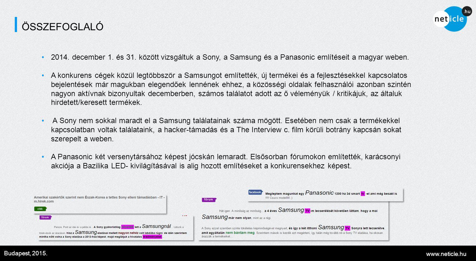 www.neticle.hu Budapest, 2015. ÖSSZEFOGLALÓ 2014. december 1. és 31. között vizsgáltuk a Sony, a Samsung és a Panasonic említéseit a magyar weben. A k