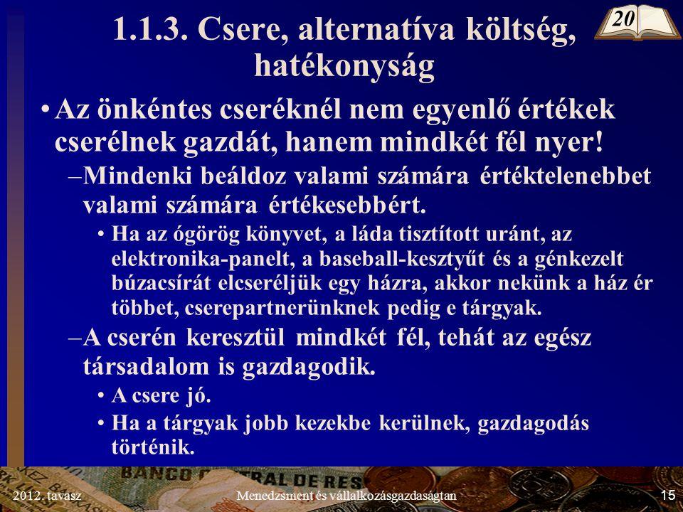 2012. tavasz15Menedzsment és vállalkozásgazdaságtan 1.1.3.