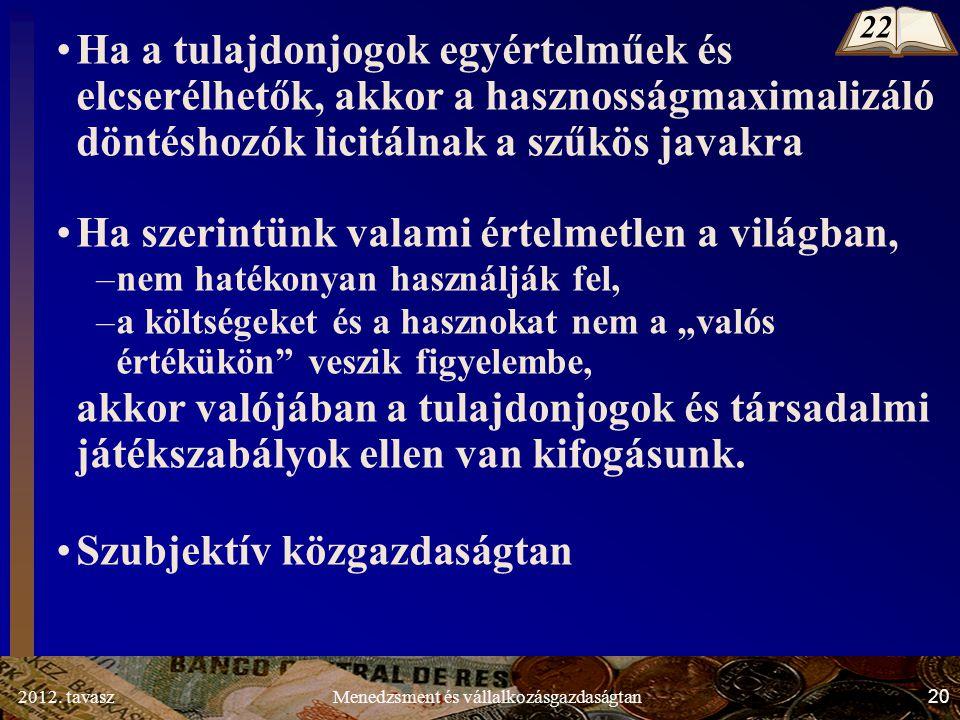 2012. tavasz20Menedzsment és vállalkozásgazdaságtan Ha a tulajdonjogok egyértelműek és elcserélhetők, akkor a hasznosságmaximalizáló döntéshozók licit
